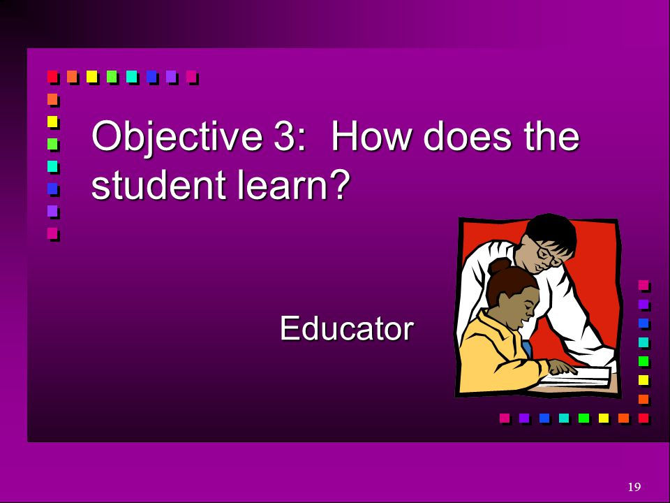 19 Objective 3: How does the student learn? Educator