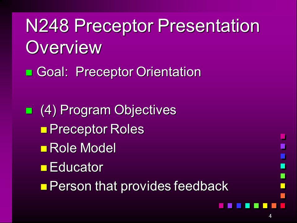 4 N248 Preceptor Presentation Overview n Goal: Preceptor Orientation n (4) Program Objectives n Preceptor Roles n Role Model n Educator n Person that