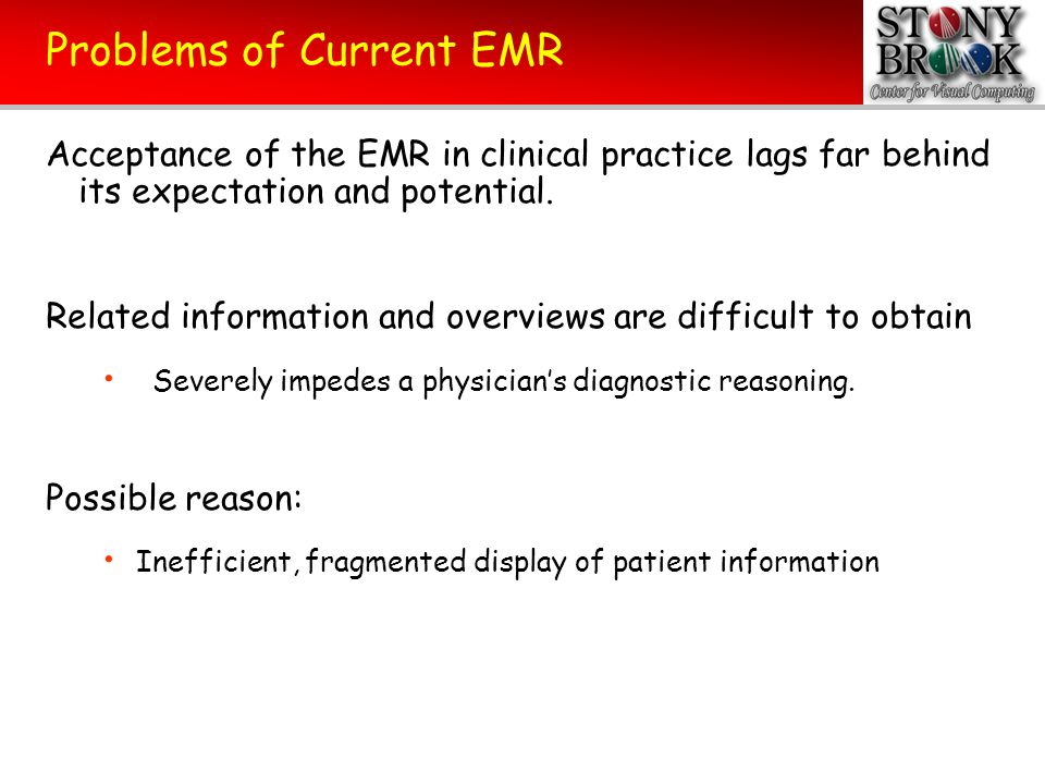 Problems of Current EMR Acceptance of the EMR in clinical practice lags far behind its expectation and potential. Related information and overviews ar