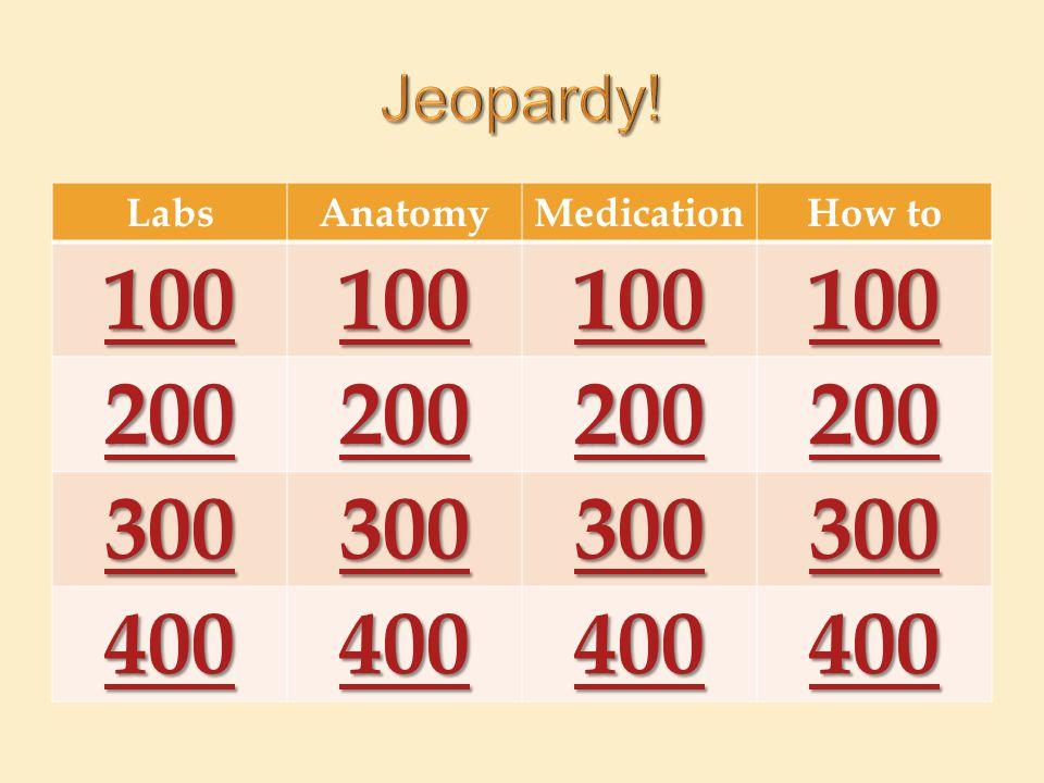 LabsAnatomyMedicationHow to 100 200 300 400