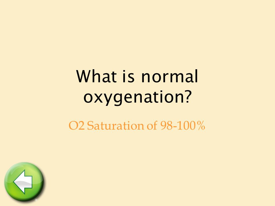 What is normal oxygenation O2 Saturation of 98-100%