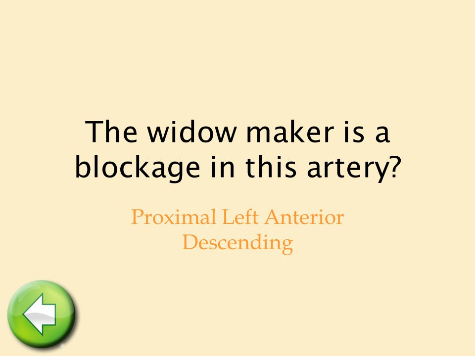 The widow maker is a blockage in this artery? Proximal Left Anterior Descending