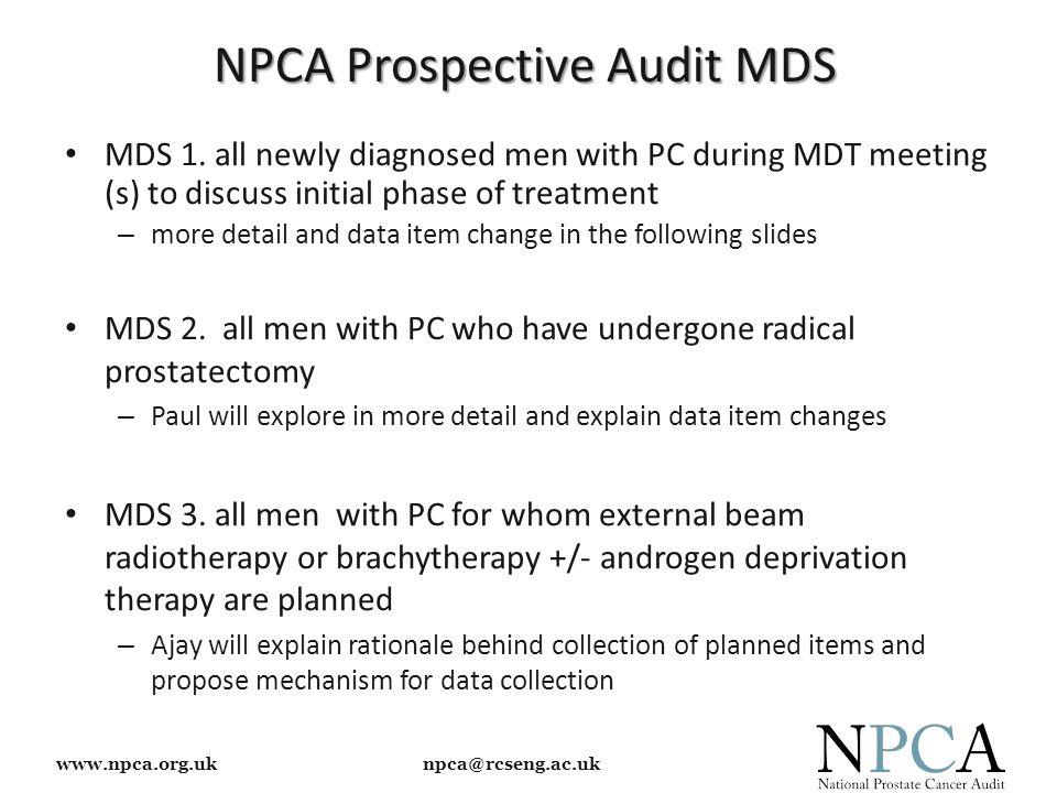 www.npca.org.uk npca@rcseng.ac.uk NPCA Prospective Audit MDS MDS 1.