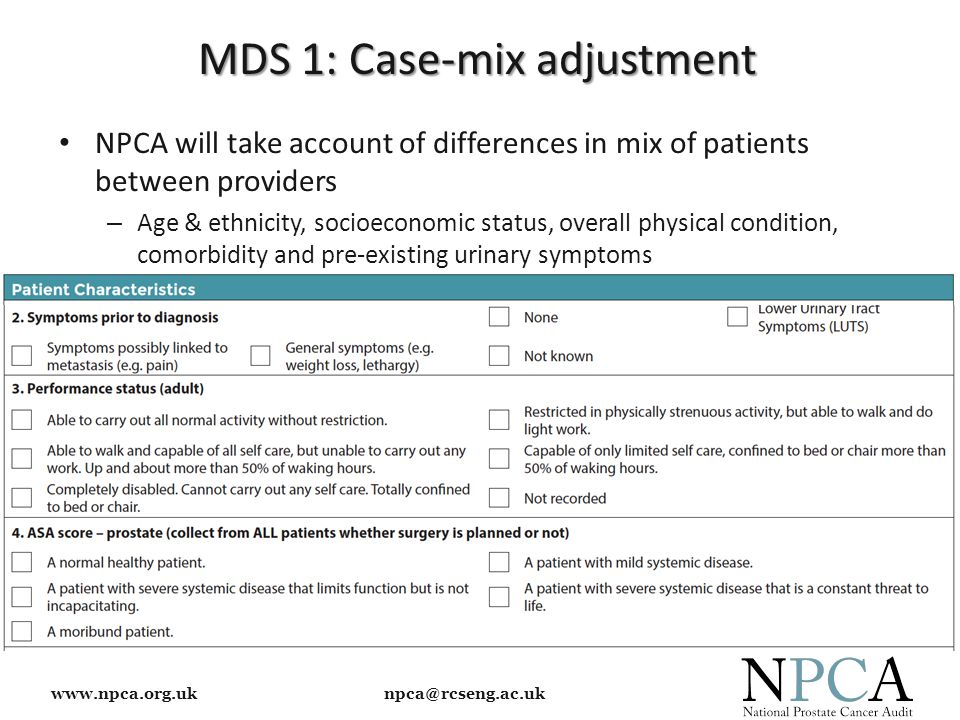 www.npca.org.uk npca@rcseng.ac.uk MDS 1: Case-mix adjustment NPCA will take account of differences in mix of patients between providers – Age & ethnicity, socioeconomic status, overall physical condition, comorbidity and pre-existing urinary symptoms