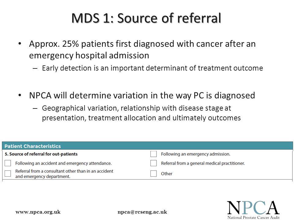 www.npca.org.uk npca@rcseng.ac.uk MDS 1: Source of referral Approx.