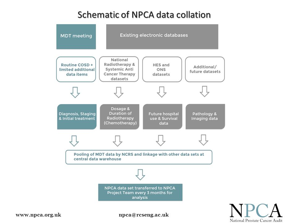 www.npca.org.uk npca@rcseng.ac.uk Included in NHS Wales National Clinical Audit and Outcome Review plan – Participation is mandated Mechanism for data collection & submission is currently being developed NHS Wales Information Service are developing software updates to the national Canisc system – Mapping NPCA dataset NPCA has received confirmation that the data collection process in Wales will start in April 2015 – NPCA will work with colleagues in Wales during implementation of the MDS & dissemination of the necessary guidance Collection & submission of data: Wales