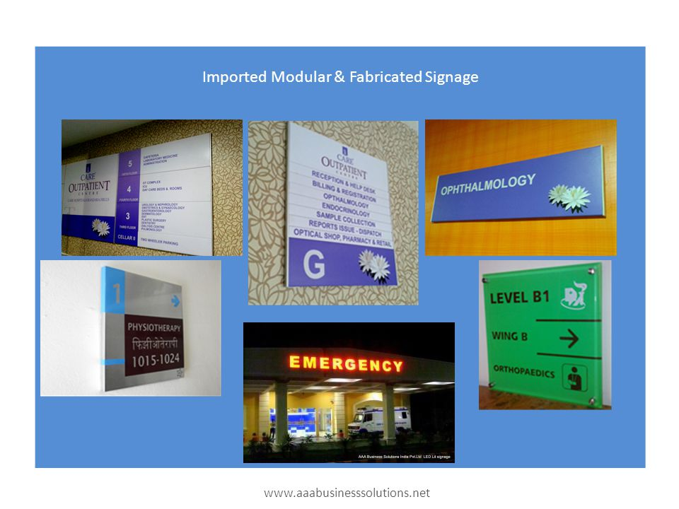 Imported Modular & Fabricated Signage www.aaabusinesssolutions.net