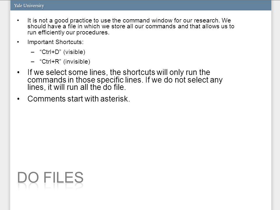 clear set mem 100m set more off cd C:\Users\MPLQ\Desktop\IntroStata use example1