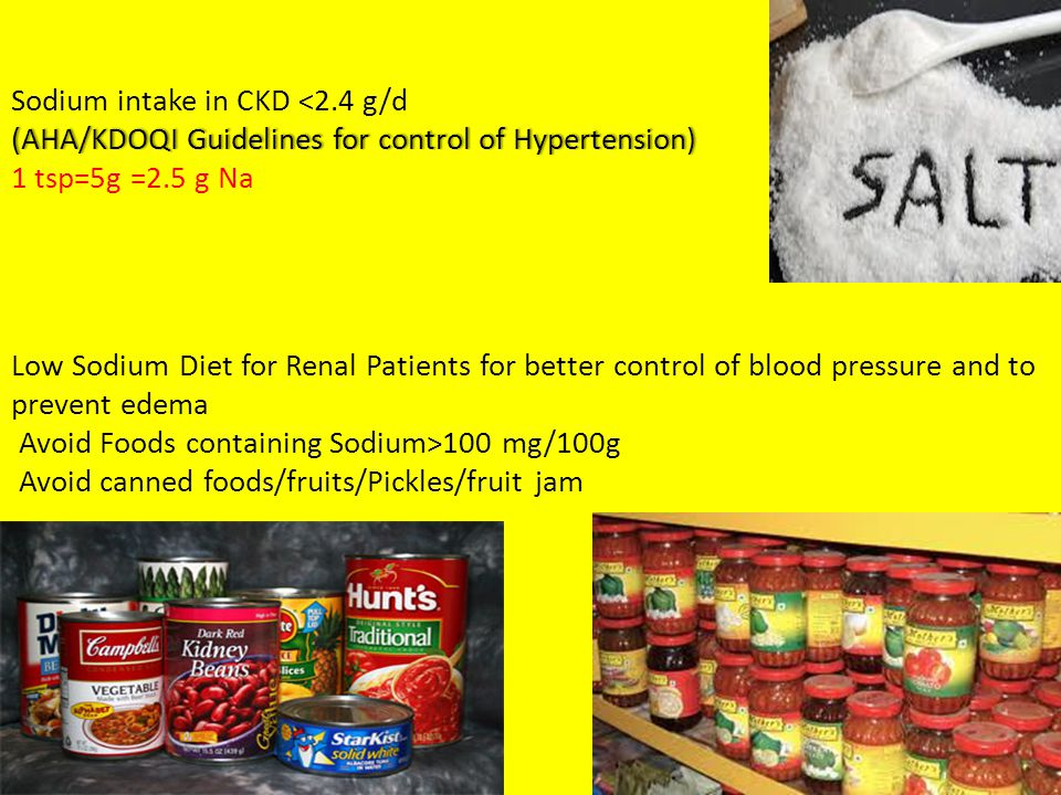 (AHA/KDOQI Guidelines for control of Hypertension) Sodium intake in CKD 100 mg/100g Avoid canned foods/fruits/Pickles/fruit jam