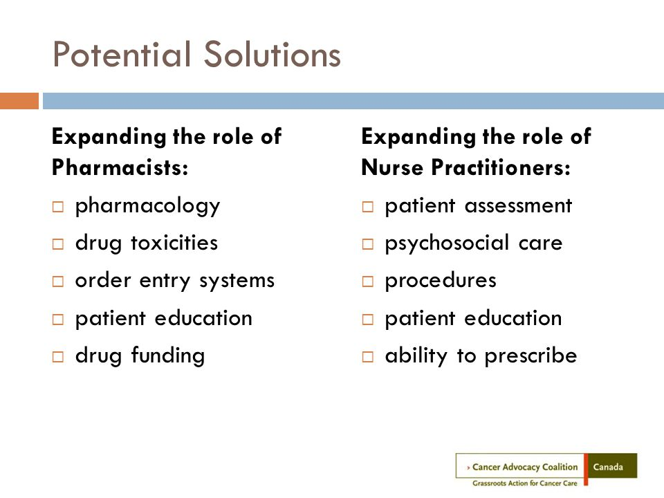 Potential Solutions Expanding the role of Pharmacists:  pharmacology  drug toxicities  order entry systems  patient education  drug funding Expanding the role of Nurse Practitioners:  patient assessment  psychosocial care  procedures  patient education  ability to prescribe