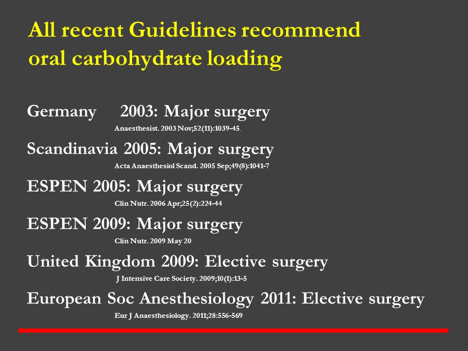 All recent Guidelines recommend oral carbohydrate loading Germany2003: Major surgery Anaesthesist. 2003 Nov;52(11):1039-45. Scandinavia 2005: Major su
