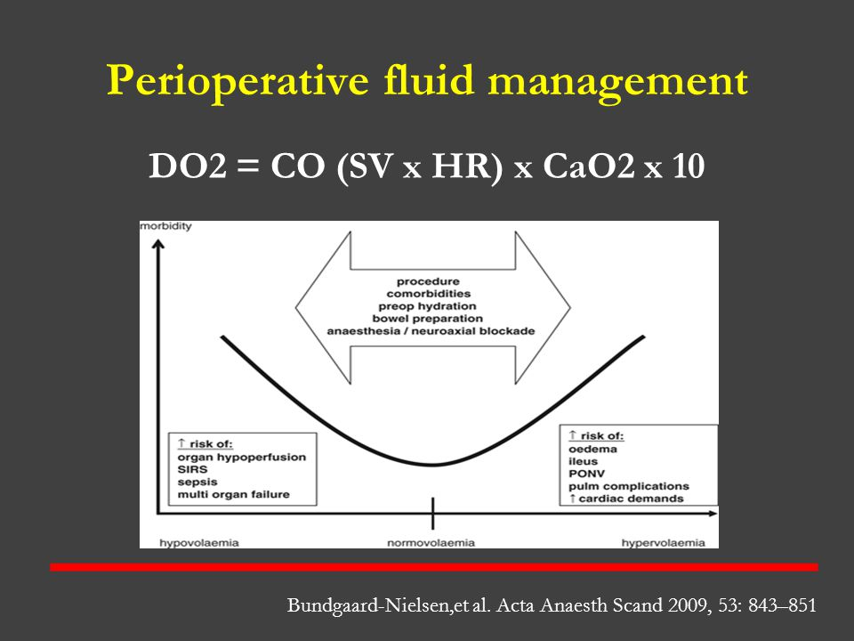 Perioperative fluid management DO2 = CO (SV x HR) x CaO2 x 10 Bundgaard-Nielsen,et al. Acta Anaesth Scand 2009, 53: 843–851