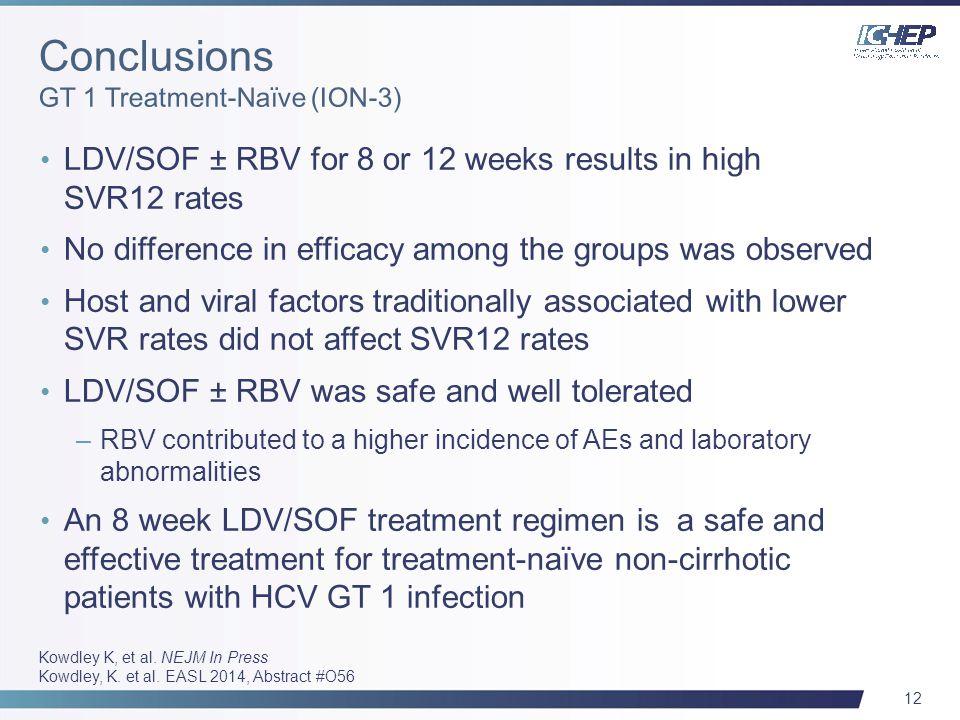 12 Kowdley K, et al. NEJM In Press Kowdley, K. et al. EASL 2014, Abstract #O56 LDV/SOF ± RBV for 8 or 12 weeks results in high SVR12 rates No differen