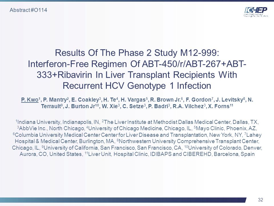 32 Results Of The Phase 2 Study M12-999: Interferon-Free Regimen Of ABT-450/r/ABT-267+ABT- 333+Ribavirin In Liver Transplant Recipients With Recurrent HCV Genotype 1 Infection P.
