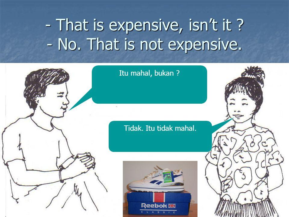 - That is expensive, isn't it ? - No. That is not expensive. Itu mahal, bukan ? Tidak. Itu tidak mahal.