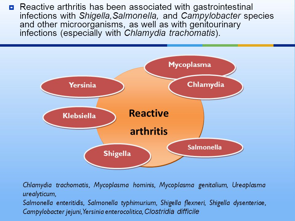  Data on the incidence and prevalence of reactive arthritis are scarce, partly because of a lack of a disease definition and diagnosis criteria; these factors complicate differentiation of reactive arthritis from other arthritides.