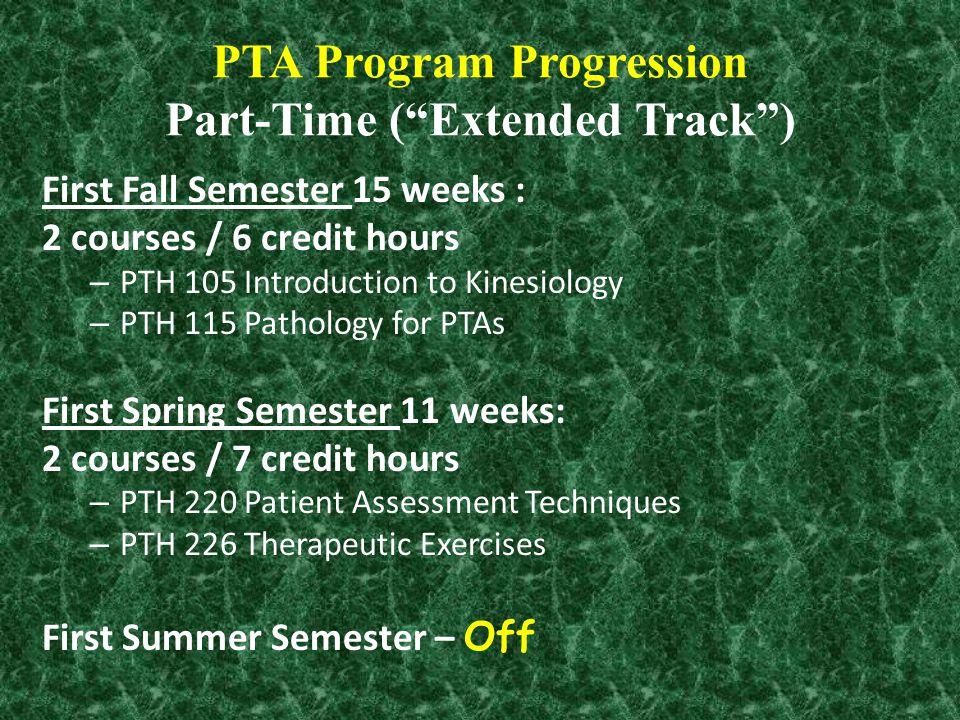 """PTA Program Progression Part-Time (""""Extended Track"""") First Fall Semester 15 weeks : 2 courses / 6 credit hours – PTH 105 Introduction to Kinesiology –"""