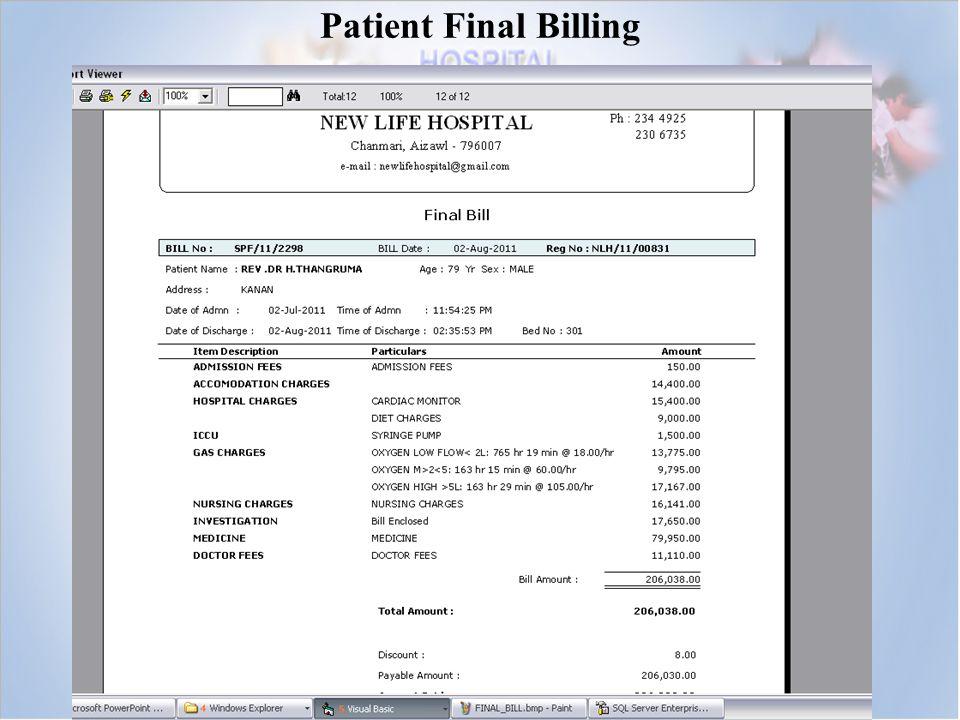 Patient Final Billing