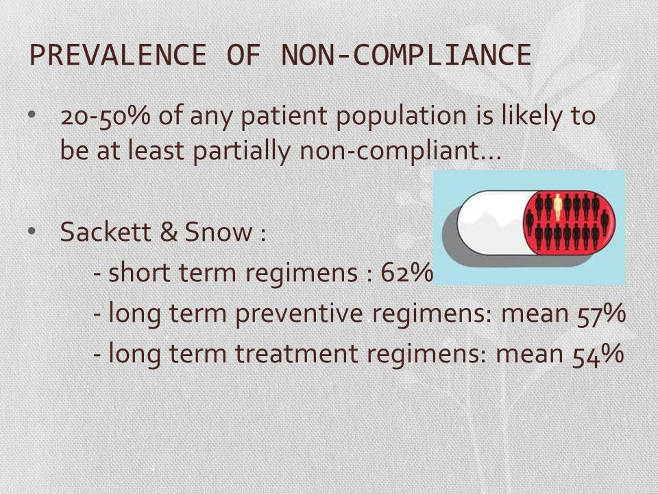 PREVALENCE OF NON-COMPLIANCE 20-50% of any patient population is likely to be at least partially non-compliant… Sackett & Snow : - short term regimens