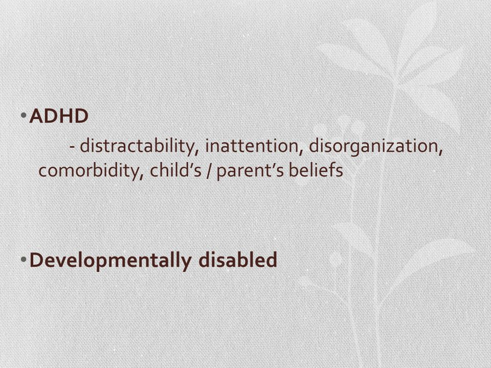 ADHD - distractability, inattention, disorganization, comorbidity, child's / parent's beliefs Developmentally disabled