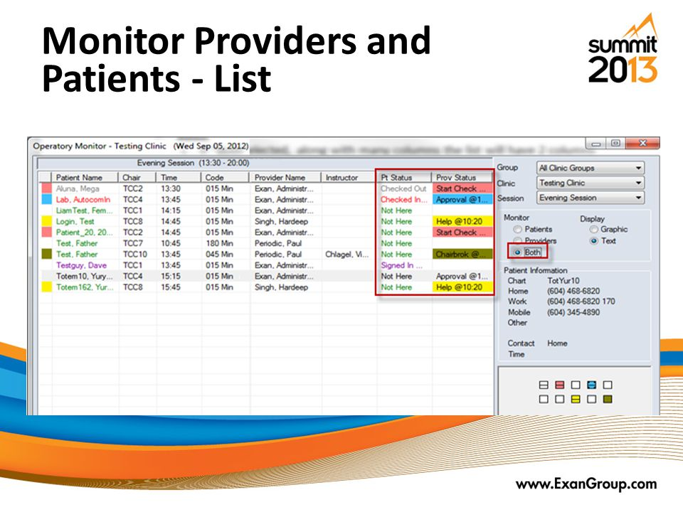 Monitor Providers and Patients - List