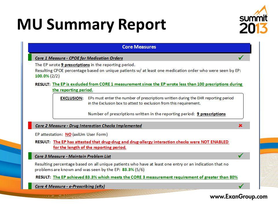 MU Summary Report
