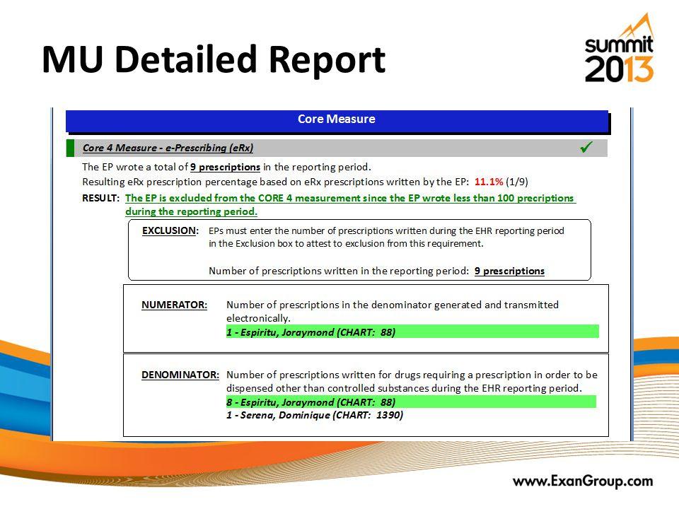 MU Detailed Report