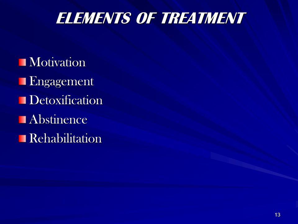 13 ELEMENTS OF TREATMENT MotivationEngagementDetoxificationAbstinenceRehabilitation