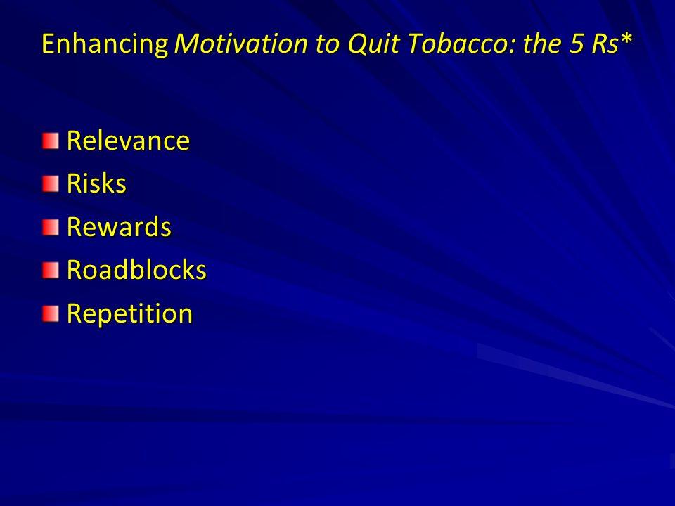 Enhancing Motivation to Quit Tobacco: the 5 Rs* RelevanceRisksRewardsRoadblocksRepetition