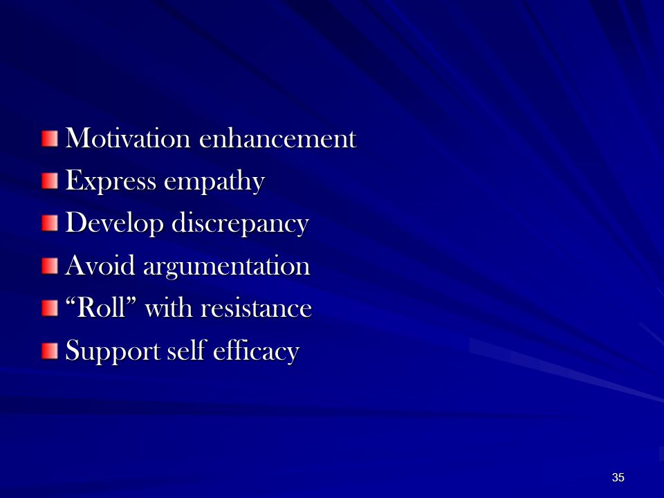 """35 Motivation enhancement Express empathy Develop discrepancy Avoid argumentation """"Roll"""" with resistance Support self efficacy"""