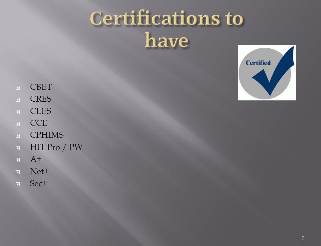  CBET  CRES  CLES  CCE  CPHIMS  HIT Pro / PW  A+  Net+  Sec+ 7