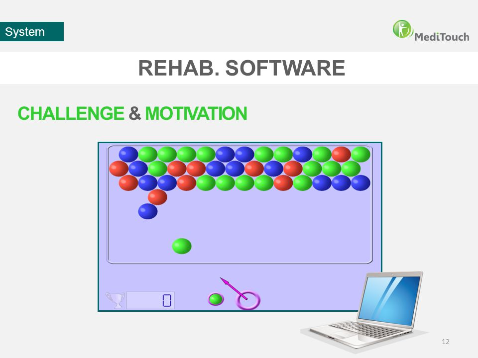 REHAB. SOFTWARE 12 System CHALLENGE & MOTIVATION