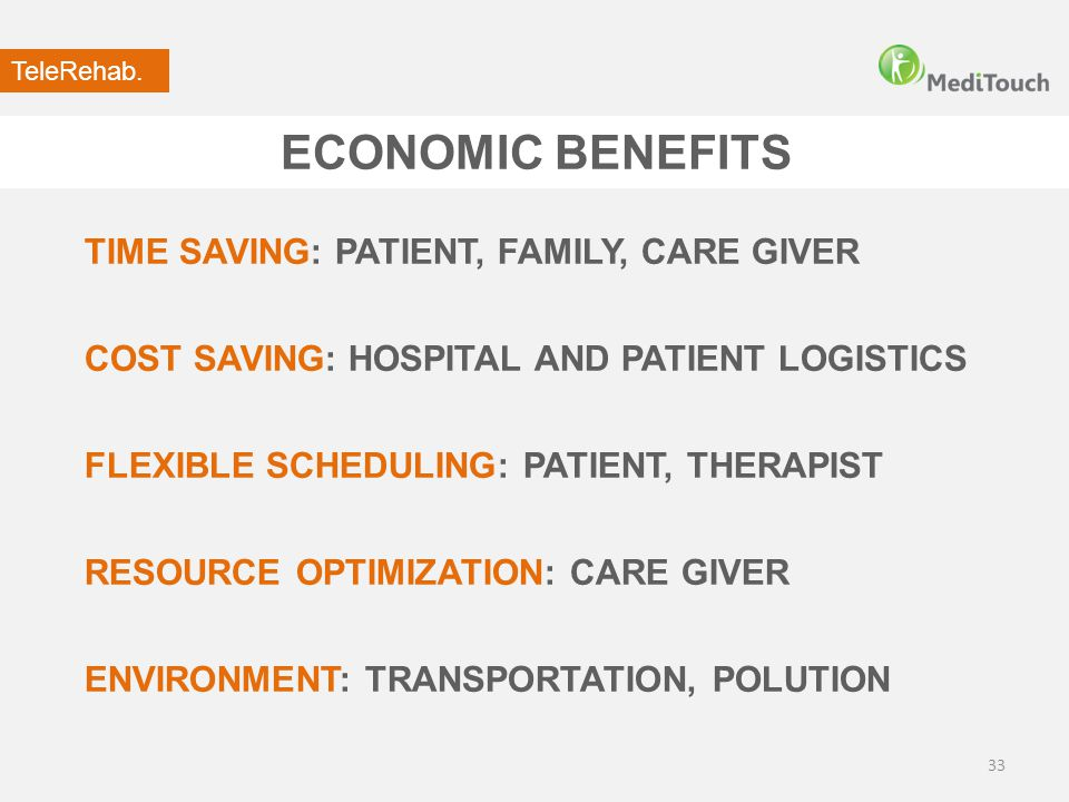 ECONOMIC BENEFITS 33 TIME SAVING: PATIENT, FAMILY, CARE GIVER COST SAVING: HOSPITAL AND PATIENT LOGISTICS FLEXIBLE SCHEDULING: PATIENT, THERAPIST RESO