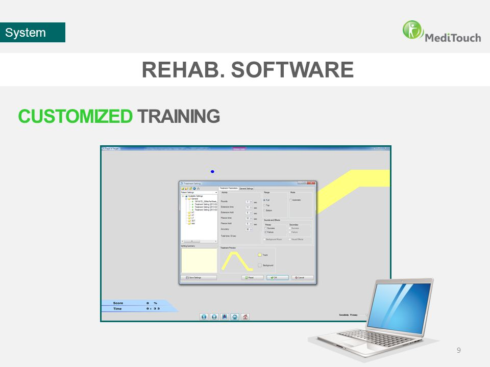 REHAB. SOFTWARE 9 System CUSTOMIZED TRAINING