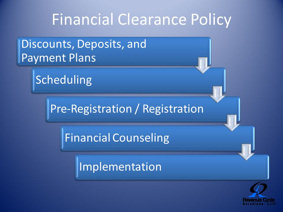 Financial Clearance Policy Discounts, Deposits, and Payment Plans SchedulingPre-Registration / RegistrationFinancial CounselingImplementation