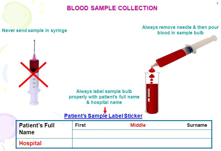 Patient information 1. Always write patient's full name as multiple requests come to blood bank from many hospitals & there are chances of two request