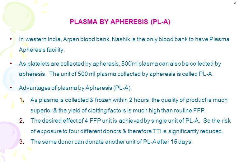 To Give Clotting Factors - Fresh Frozen Plasma can be given when all clotting factors are required. - It also supplies Albumin. - If we want to supply