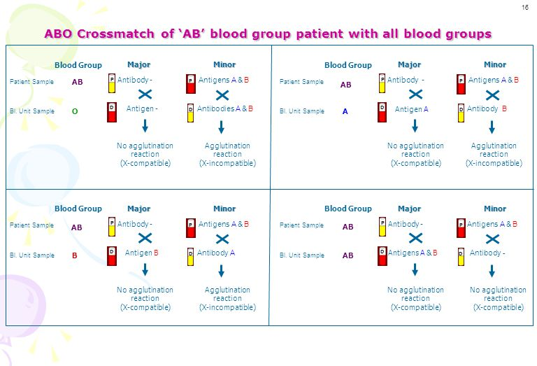 ABO Compatibility table of 'B' blood group patient B Major Major Minor Minor Bag's Blood Group Patient's Blood GroupO AB A B 15