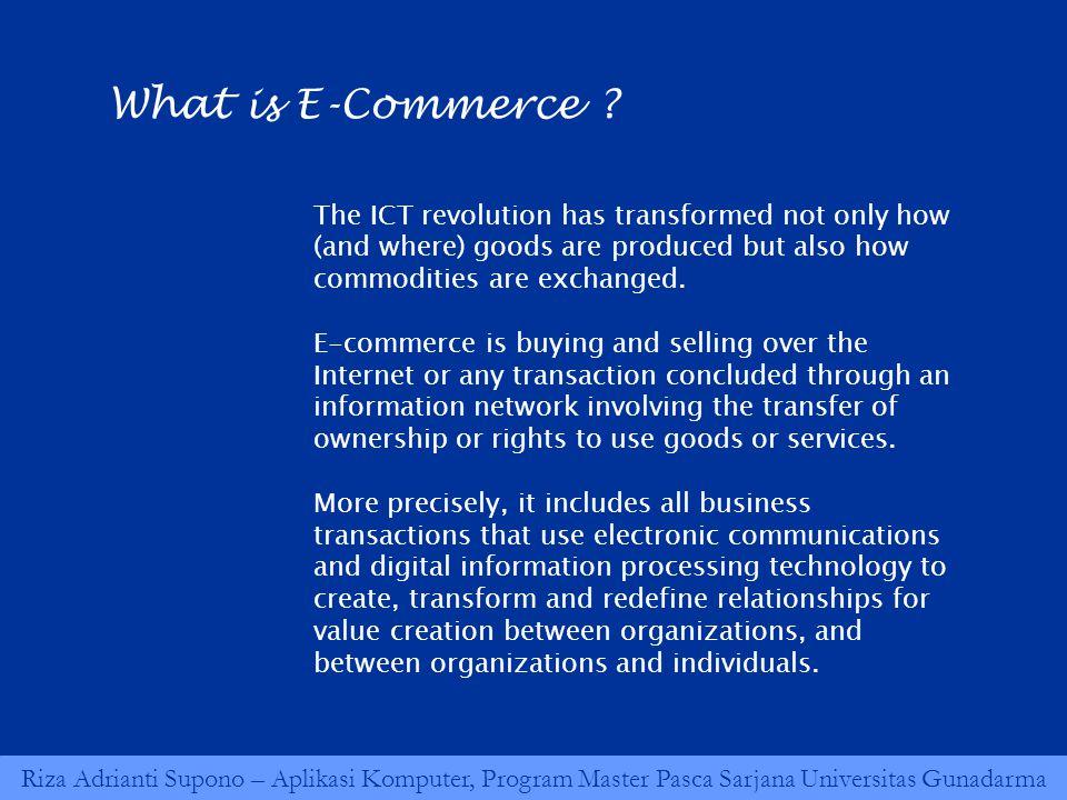 Riza Adrianti Supono – Aplikasi Komputer, Program Master Pasca Sarjana Universitas Gunadarma What is E-Commerce ? The ICT revolution has transformed n