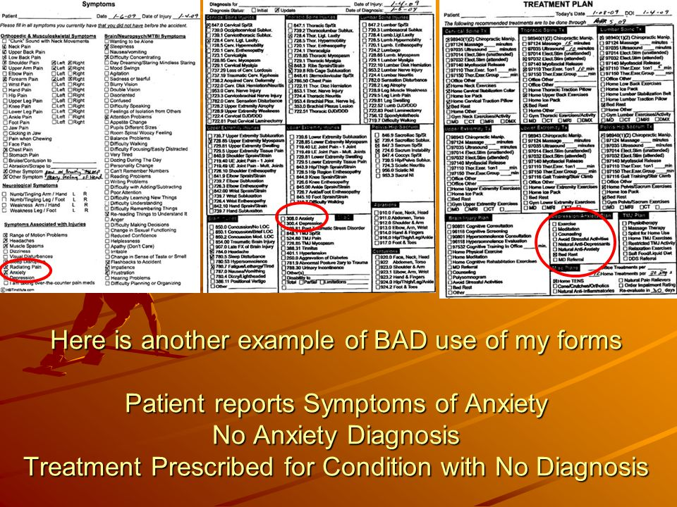 Here is another example of BAD use of my forms Patient reports Symptoms of Anxiety No Anxiety Diagnosis Treatment Prescribed for Condition with No Diagnosis