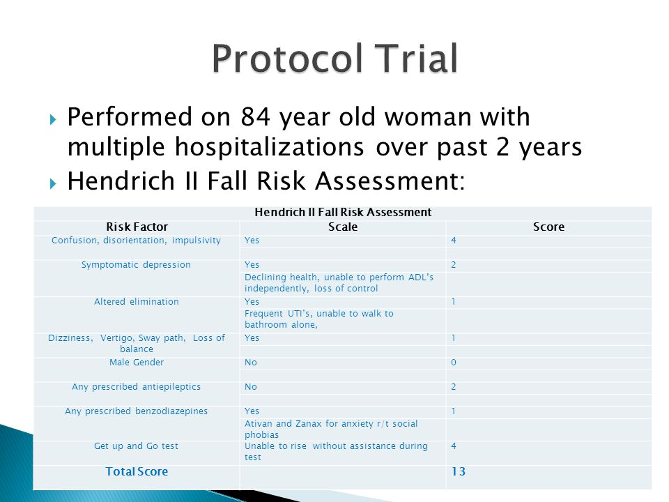  Performed on 84 year old woman with multiple hospitalizations over past 2 years  Hendrich II Fall Risk Assessment: Hendrich II Fall Risk Assessment