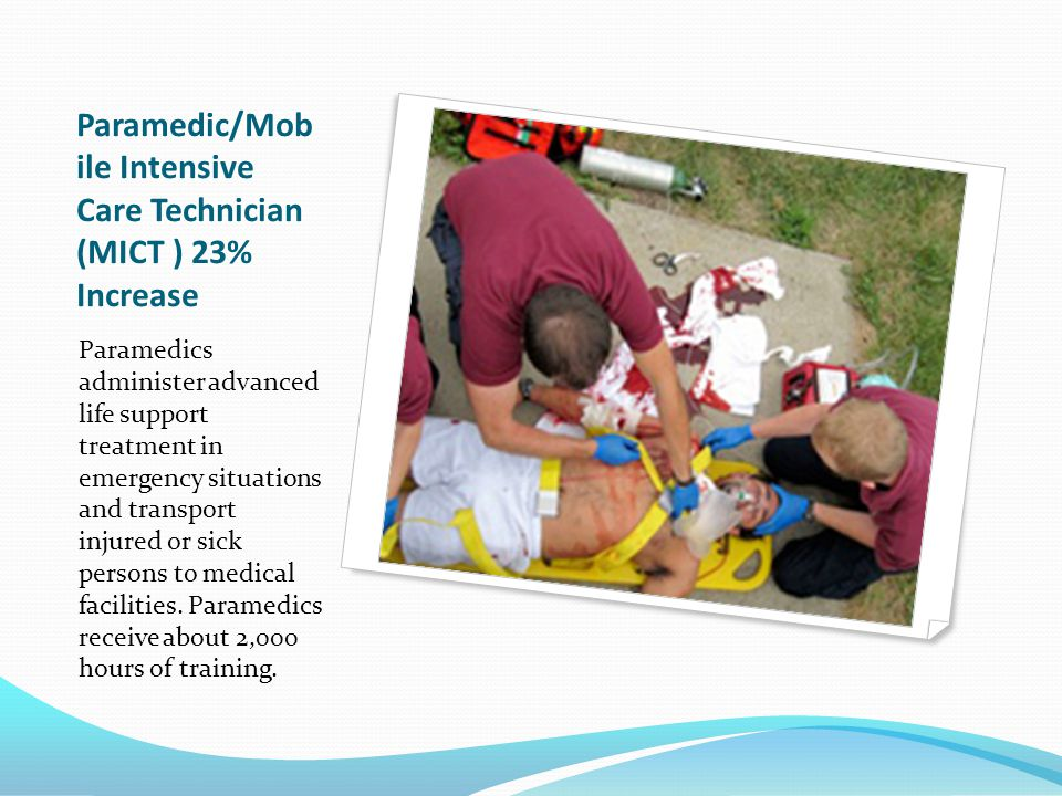 Paramedic/Mob ile Intensive Care Technician (MICT ) 23% Increase Paramedics administer advanced life support treatment in emergency situations and transport injured or sick persons to medical facilities.