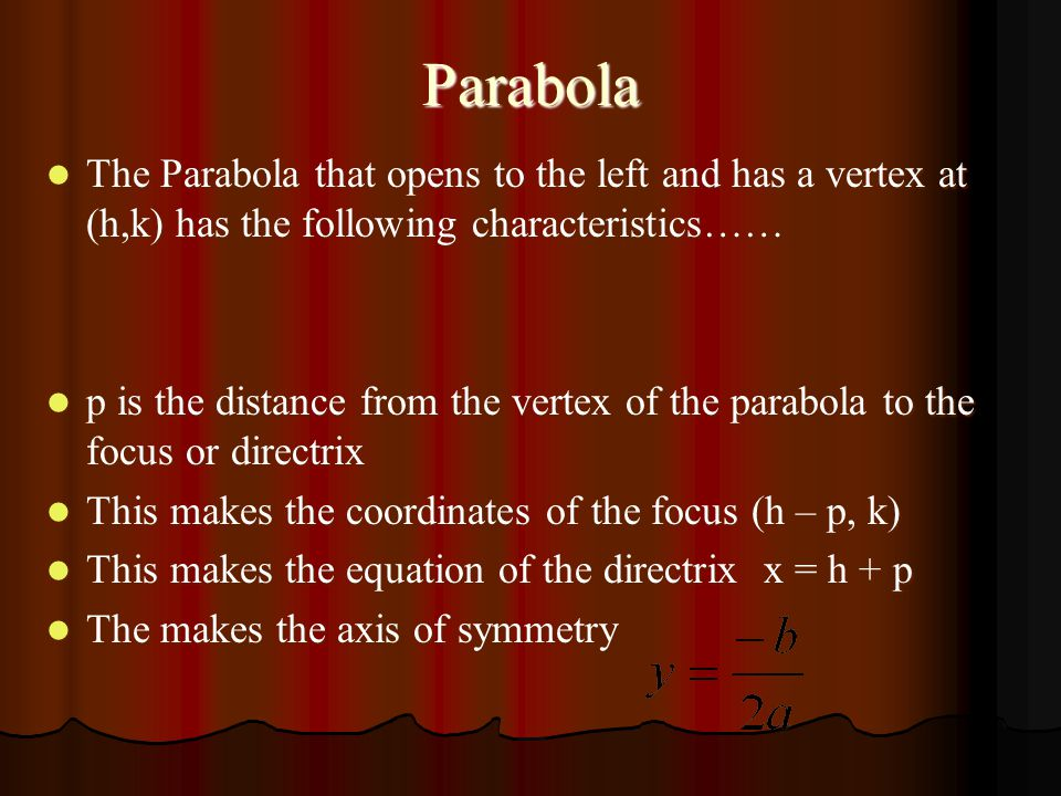 Parabola The Standard Form of a Parabola that opens to the left and has a vertex at (h,k) is…… The Standard Form of a Parabola that opens to the left and has a vertex at (h,k) is…… ©June Jones, University of Georgia