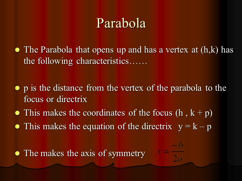 Parabola The Standard Form of a Parabola that opens up and has a vertex at (h,k) is…… The Standard Form of a Parabola that opens up and has a vertex at (h,k) is…… Copyright ©1999-2004 Oswego City School District Regents Exam Prep Center