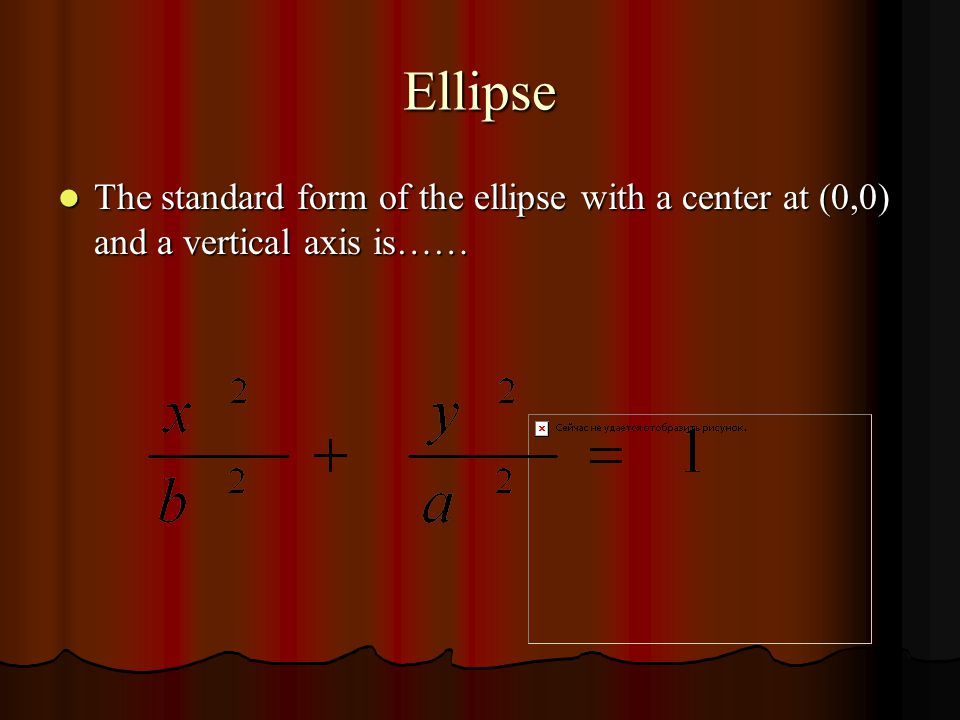 Ellipse The ellipse with a center at (0,0) and a horizontal axis has the following characteristics…… The ellipse with a center at (0,0) and a horizontal axis has the following characteristics…… Vertices ( a,0) Vertices ( a,0) Co-Vertices (0, b) Co-Vertices (0, b) Foci ( c,0) Foci ( c,0) © Cabalbag, Porter, Chadwick, and Liefting