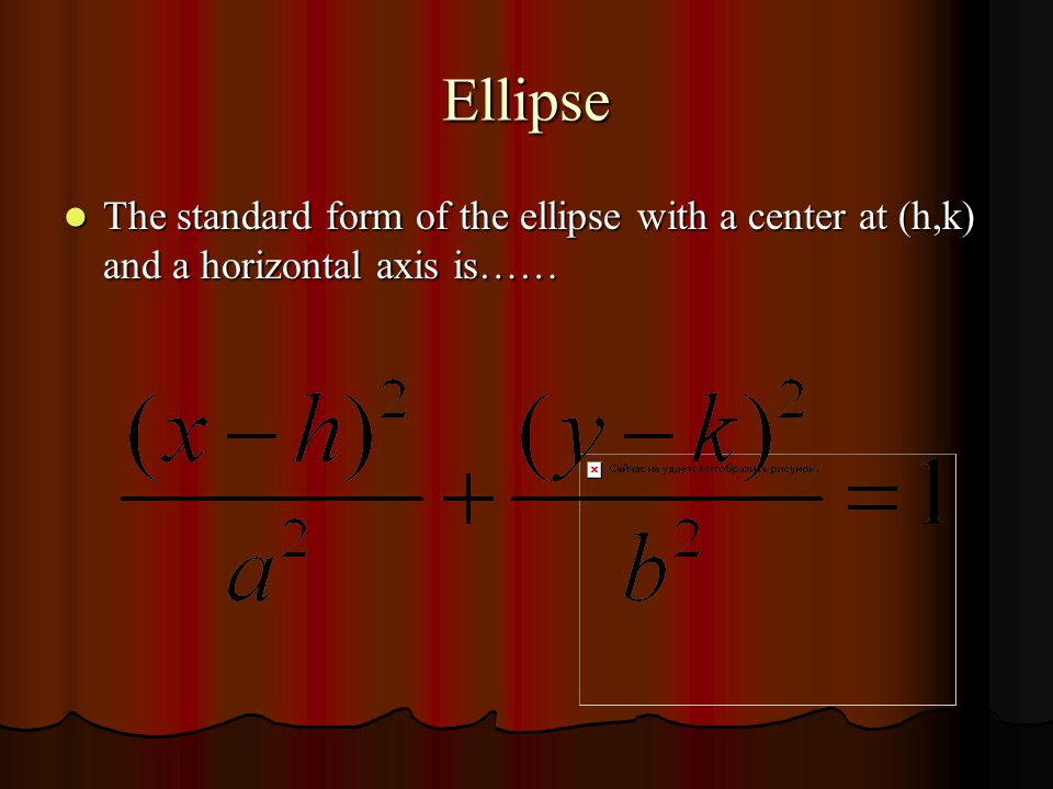Ellipse The ellipse with a center at (0,0) and a vertical axis has the following characteristics…… The ellipse with a center at (0,0) and a vertical axis has the following characteristics…… Vertices (0, a) Vertices (0, a) Co-Vertices ( b,0) Co-Vertices ( b,0) Foci (0, c) Foci (0, c) © Cabalbag, Porter, Chadwick, and Liefting