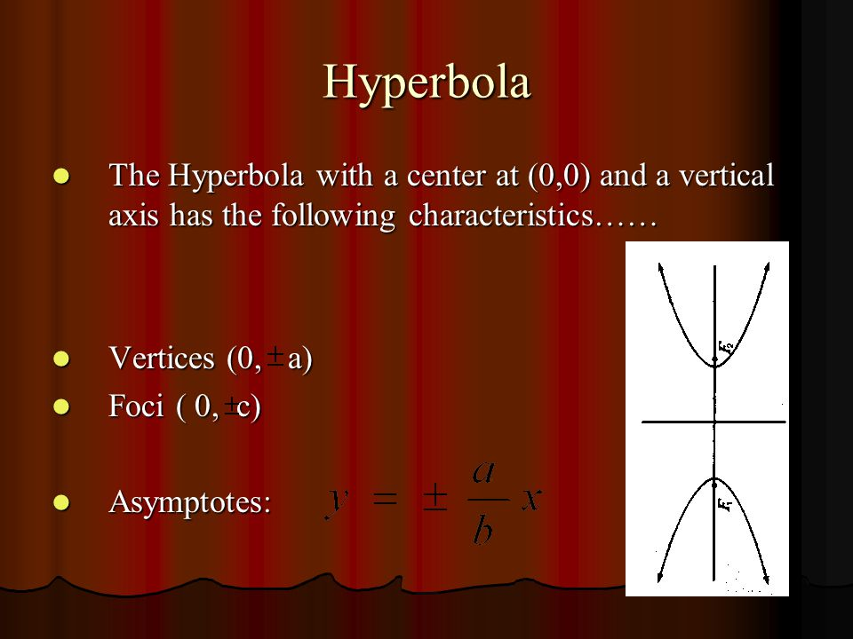 Hyperbola The standard form of the Hyperbola with a center at (0,0) and a vertical axis is…… The standard form of the Hyperbola with a center at (0,0) and a vertical axis is……