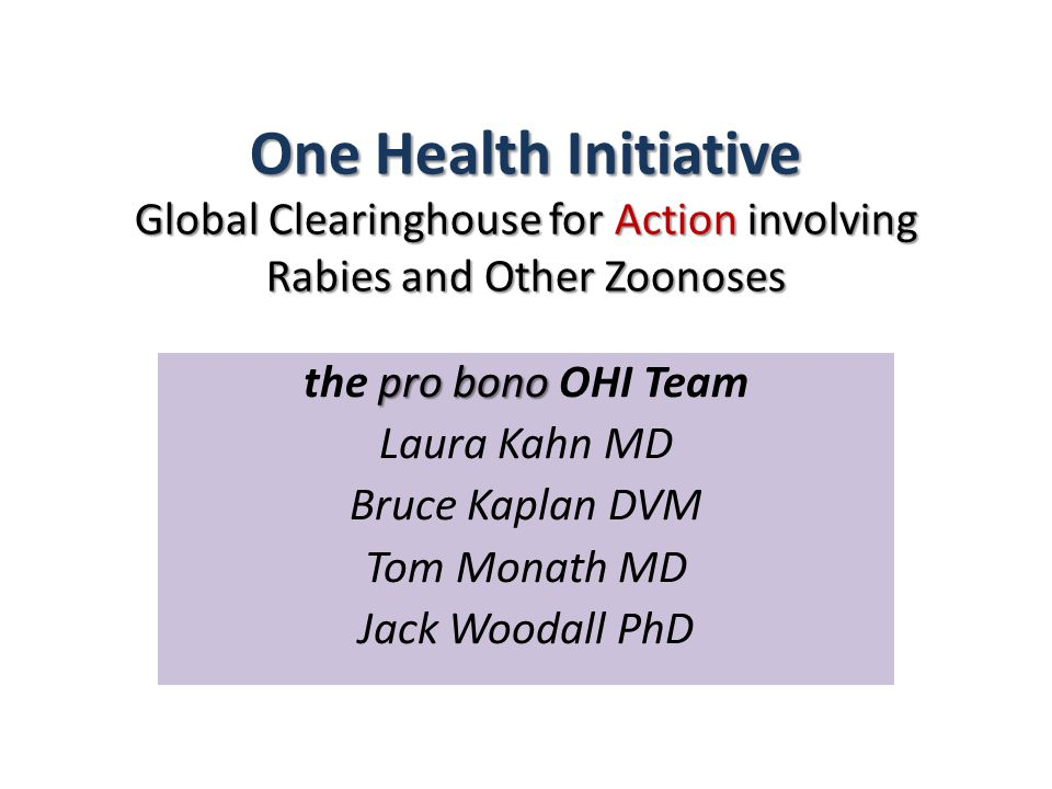 One Health Initiative Global Clearinghouse for Action involving Rabies and Other Zoonoses pro bono the pro bono OHI Team Laura Kahn MD Bruce Kaplan DVM Tom Monath MD Jack Woodall PhD