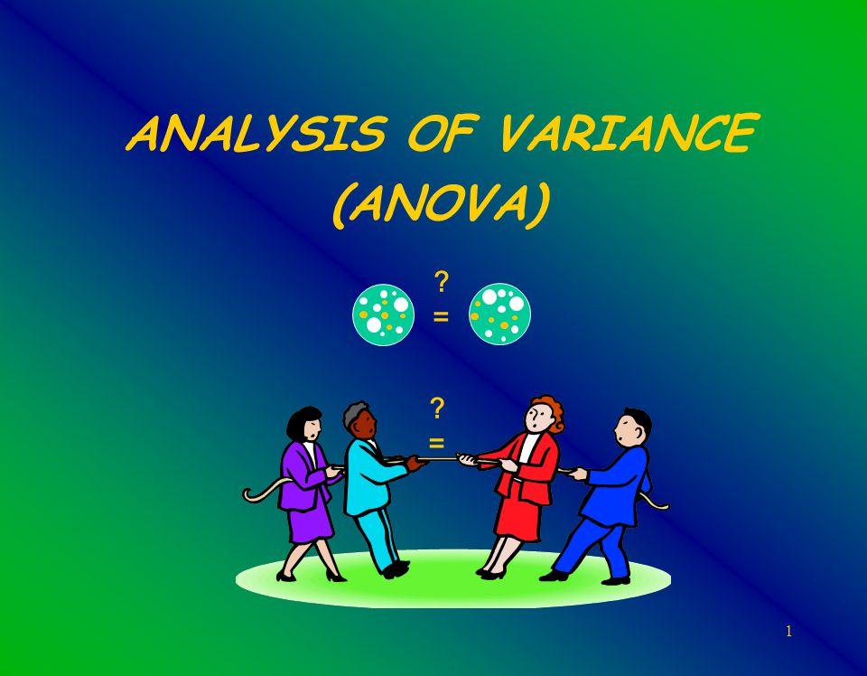 1 ANALYSIS OF VARIANCE (ANOVA) ?=?= ?=?=