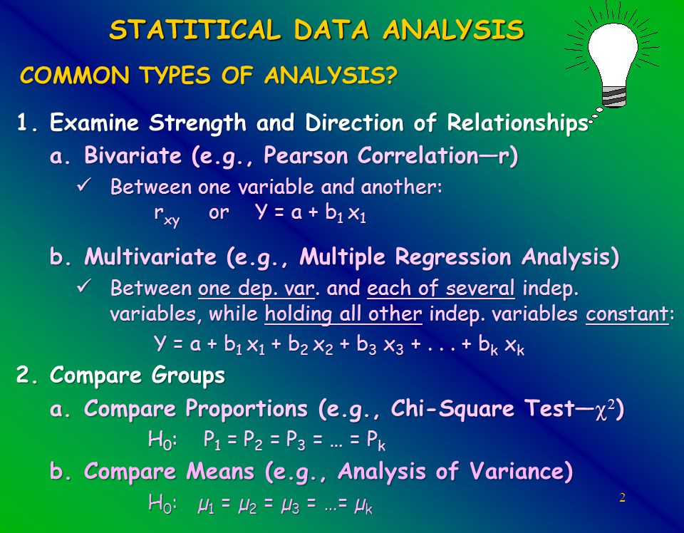 33 ANOVA Using SPSS TWO-WAY ANOVA (with Main & Interaction Effects): –Analyze:General Linear Models –Univariate:Y to Dependent box, Categorical X1 & X2 to the Fixed Factors box –Model: Full, Continue –Plots: X1 to Horizontal , X2 to Separate Lines , Add, Continue –Post Hoc: Move factors (IVs) with >2 groups to Post Hoc Tests box, select Tukey or Bonferoni , Continue –Options: Move Overall, X1, X2, and X1*X2 to Display Means Box, check Descriptive Stats. , Continue –OK NOTE: Students are supposed to have printed and brought the SPSS OUTPUT Two-Way ANOVA with Interaction PDF file with them to class.SPSS OUTPUT Two-Way ANOVA with Interaction TWO_WAY_EPS_SPSS_FILE